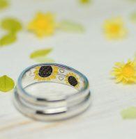 ひまわりの手描きをカラー彫刻した結婚指輪
