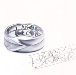 猫とクローバーと誕生石の結婚指輪
