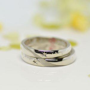天の川と星空の手彫り結婚指輪