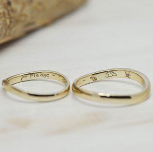 マンタと亀とイルカを描いて刻印した結婚指輪