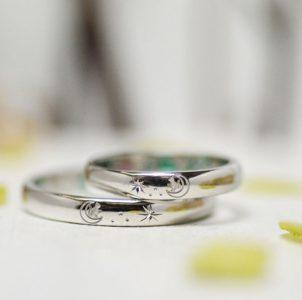 月と星と猫の結婚指輪