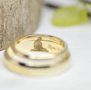 鎌倉の大仏思い出の場所を彫刻した結婚指輪