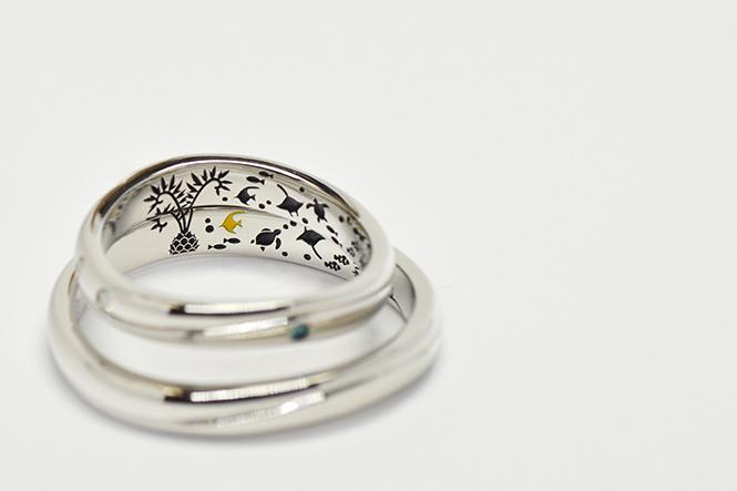 結婚指輪内側に新郎様ご要望のヒメオニテツを彫刻