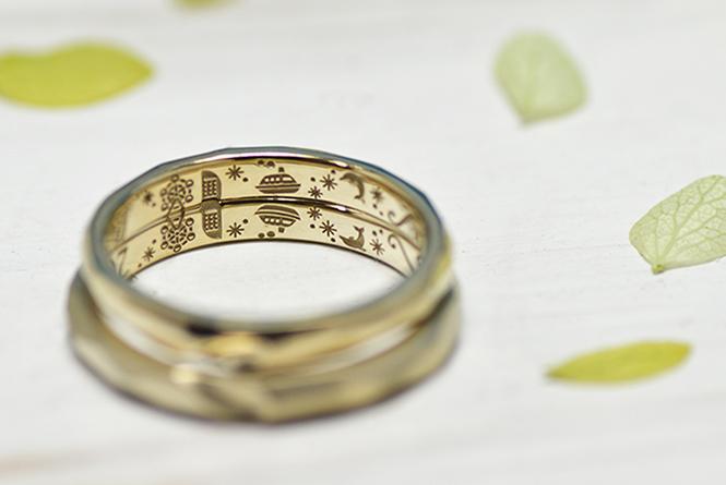 結婚指輪の内側にはプロポーズの場所・横浜でのクルージングを再現